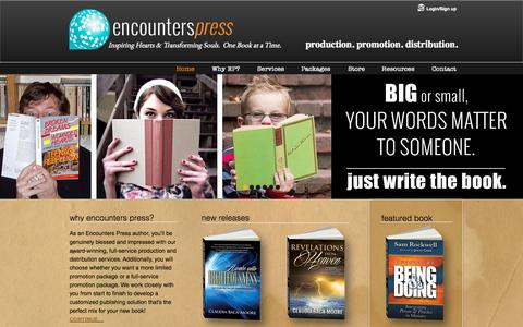 Screenshot of Home Page encounterspress.com - encounters - captured Sept. 18, 2015
