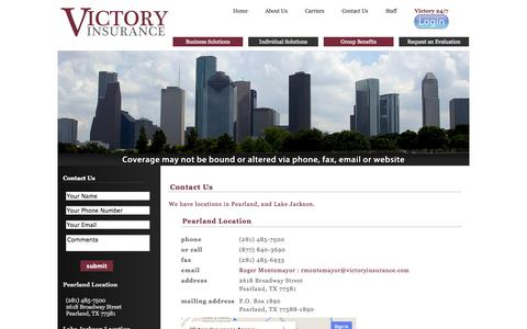 Screenshot of Contact Page Locations Page victoryinsurance.com - Contact Us | Victory Insurance Agency | Business and Personal Insurance, Financial Products, and Highly Trained Agents - captured Oct. 26, 2014