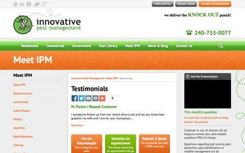 Screenshot of Testimonials Page ipm4u.com - Testimonials - Innovative Pest Management - captured Oct. 6, 2014