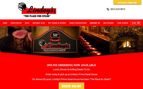 Screenshot of Contact Page theplaceforsteak.com - on line store  Lindey's Prime Steak House, Restaurant and Bar, Casual Dining. Arden Hills, MN - captured Aug. 15, 2017