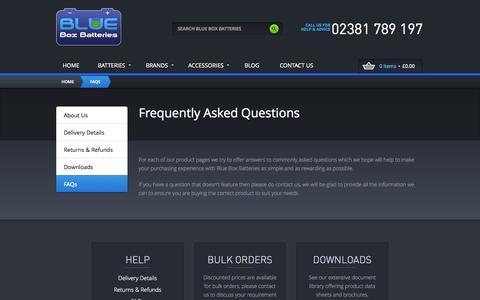 Screenshot of FAQ Page blueboxbatteries.co.uk - FAQs - captured Oct. 5, 2014