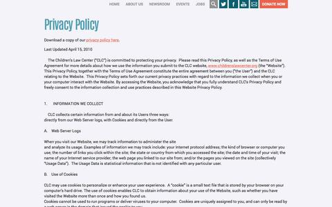 Screenshot of Privacy Page childrenslawcenter.org - Privacy Policy | Childrens Law Center - captured Dec. 8, 2015