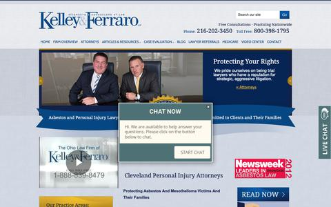 Screenshot of Home Page kelley-ferraro.com - Cleveland Personal Injury Lawyer | Ohio Mesothelioma Attorney | Michigan Asbestos Lawyers - captured Oct. 15, 2018