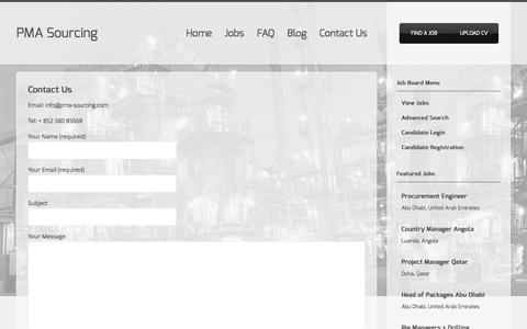 Screenshot of Contact Page pma-sourcing.com - Contact Us | PMA Sourcing - captured Oct. 9, 2014