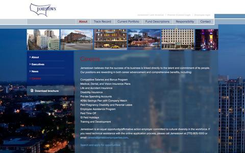 Screenshot of Jobs Page jamestownlp.com - Careers | Jamestown - captured Oct. 3, 2014