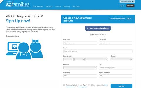 Screenshot of Signup Page adfamilies.com - Register - adfamilies - change advertising - captured Oct. 29, 2014