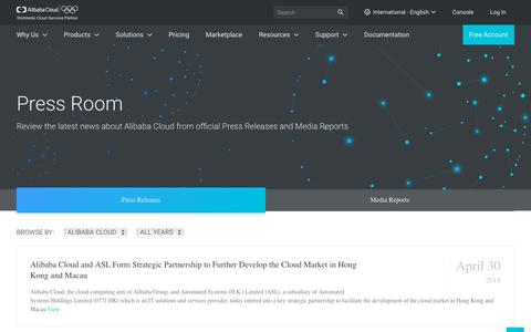 Screenshot of Press Page alibabacloud.com - Alibaba Cloud Official Press Releases and Media Reports - Alibaba Cloud Press Room - captured June 2, 2018