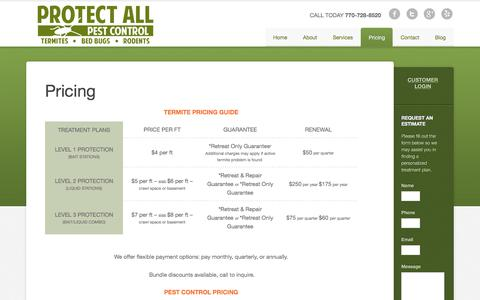 Screenshot of Pricing Page protectallpestcontrol.com - Termite Treatment Woodstock, GA – Acworth – Pest Control Pricing - captured July 24, 2018