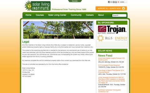 Screenshot of Terms Page solarliving.org - Solar Living Institute - Legal - captured Oct. 26, 2014