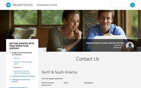 Screenshot of Contact Page morganstanley.com - Morgan Stanley StockPlan Connect Knowledge Center - Contact Us - captured Oct. 5, 2016