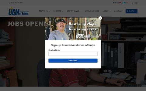 Screenshot of Jobs Page ugmsalem.org - Union Gospel Mission of Salem - Available Job Opportunities - captured Oct. 18, 2018