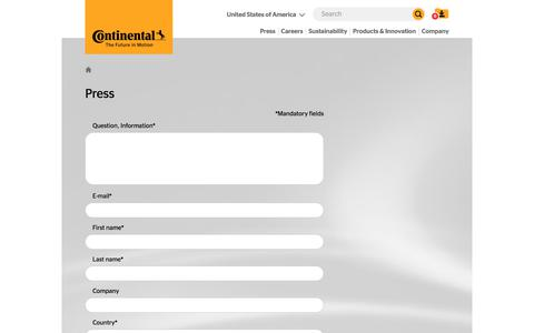 Screenshot of Press Page continental.com - Contact information - Continental AG - captured Jan. 25, 2020