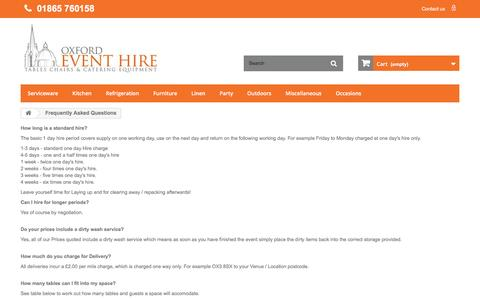 Screenshot of FAQ Page oxfordeventhire.co.uk - Frequently Asked Questions  - Oxford Event Hire Ltd - captured Aug. 16, 2016
