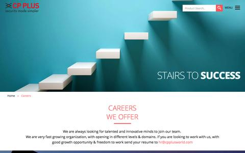 Screenshot of Jobs Page cpplusworld.com - CP Plus :: Security Made Simpler - captured Jan. 23, 2016