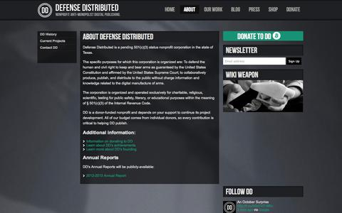 Screenshot of About Page defdist.org - About DEFENSE DISTRIBUTED | - captured Sept. 24, 2014