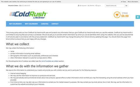 Screenshot of Privacy Page coldrush.com - Privacy Policy | ColdRush by HexArmor® - captured Nov. 18, 2016