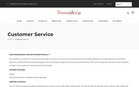 Screenshot of Support Page swarajshop.com - Customer Service – Swarajshop – Artificial Necklace Set | imitation Jewellery Necklace Set | Traditional Jewellery - captured Nov. 16, 2018