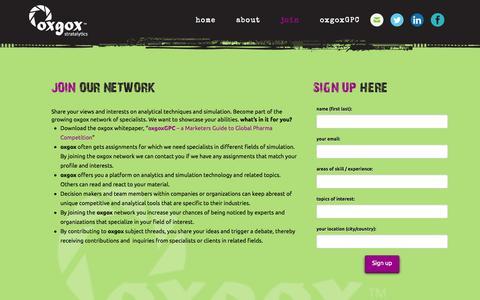 Screenshot of Signup Page oxgox.com - Join   oxgox stratalytics - captured Oct. 26, 2014