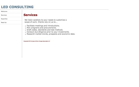 Screenshot of Services Page ledconsulting.com - Consulting to investors start-ups and governments - captured Oct. 27, 2014