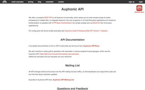Screenshot of Developers Page auphonic.com - Auphonic API - captured Nov. 13, 2015