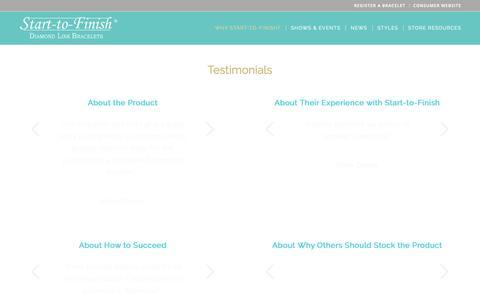 Screenshot of Testimonials Page start-to-finishbracelets.com - Testimonials - Start to Finish Bracelets - captured May 30, 2019