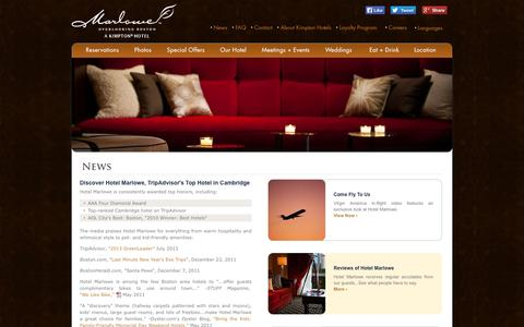 Screenshot of Press Page hotelmarlowe.com - Best Hotels in Cambridge | Hotel Marlowe, a Boutique Hotel - captured Oct. 3, 2014