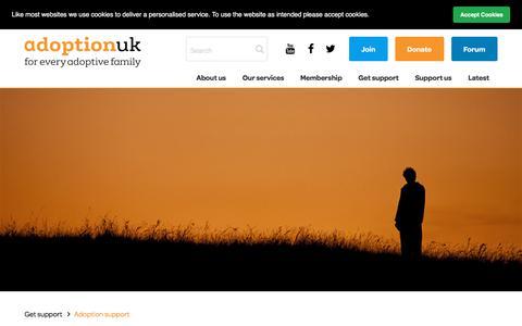 Screenshot of Support Page adoptionuk.org - Adoption UK Charity   Support - captured July 29, 2018