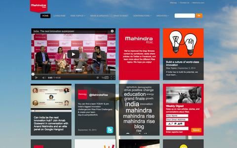 Screenshot of Blog mahindra.com - Rise Topics - Mahindra Rise Blog - captured Sept. 19, 2014
