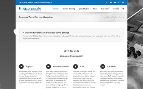 Screenshot of Services Page tmgcorporate.com - Comprehensive Business Travel Service Summary - captured Dec. 23, 2015