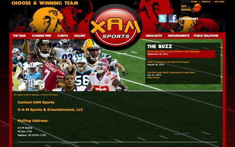 Screenshot of Contact Page xamsports.com - NFL Agents & Sports Agencies | XAM Sports NFL Agent | Contact XAM Sports - captured Sept. 30, 2014