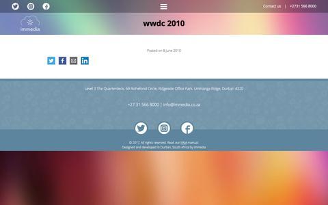 Screenshot of Press Page immedia.co.za - WWDC 2010 | the immedia ecosystem - captured Sept. 22, 2017
