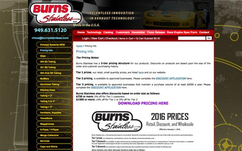 Screenshot of Pricing Page burnsstainless.com - Burns Stainless, LLC. E-Commerce Web Site - Pricing Info. - captured Jan. 21, 2016