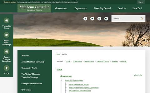 Screenshot of Site Map Page manheimtownship.org - Manheim Township, PA - Official Website - captured Oct. 2, 2018