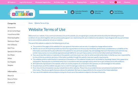 Screenshot of Terms Page houseofnappies.com.au - Website Terms of Use - captured July 23, 2018