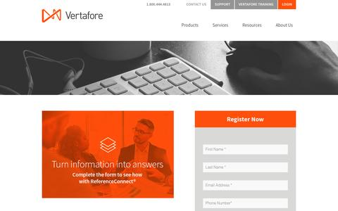 Screenshot of Landing Page vertafore.com - Vertafore - ReferenceConnect Demo - captured Aug. 20, 2016