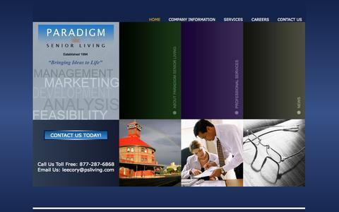 Screenshot of Home Page psliving.com - Assisted Living Senior Housing Management - Paradigm Senior Living - captured Oct. 1, 2014