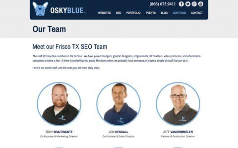 Screenshot of Team Page oskyblue.com - Frisco TX SEO | Osky Blue | Meet our team Best SEO Company in Frisco Texas - captured Sept. 22, 2014