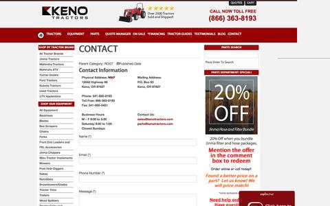 Screenshot of Contact Page kenotractors.com - Contact Keno Tractors | Call Keno Tractors For the Best Deals On Jinma, Mahindra, and Many Others. - captured Aug. 8, 2016