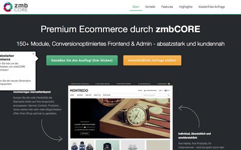 Screenshot of Home Page zmbcore.com - zmbCORE - premium Ecommerce plattfrom - - captured Sept. 19, 2014