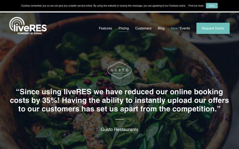 Screenshot of Pricing Page liveres.co.uk - Pricing – liveRES - captured Nov. 11, 2018