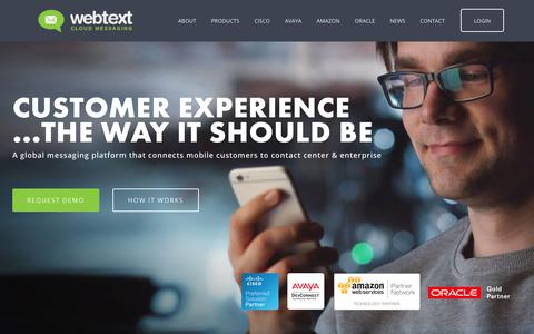 Screenshot of Home Page webtext.com - WEBTEXT - Customer Experience… the way it SHOULD be. - captured Sept. 21, 2018