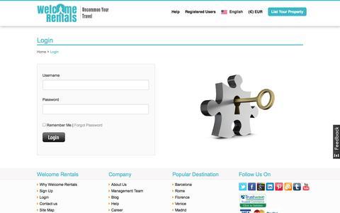 Screenshot of Login Page welcomerentals.com - WelcomeRentals: Holiday Rentals, Villas, Apartments, Rural Houses, BnB, Farmhouse... - captured Sept. 23, 2014