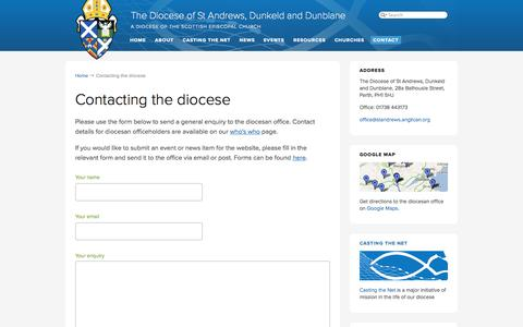Screenshot of Contact Page anglican.org - Contacting the diocese | The Diocese of St Andrews, Dunkeld and Dunblane - captured Sept. 23, 2014