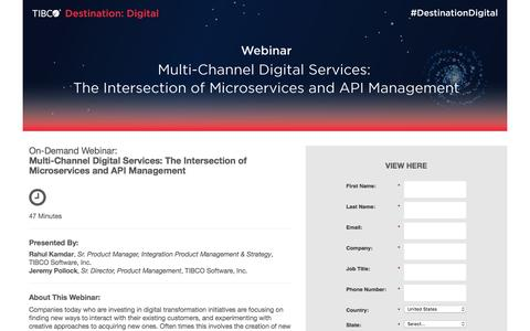 Screenshot of Landing Page tibco.com - Multi-Channel Digital Services: The Intersection of Microservices and API Management - captured Nov. 19, 2016