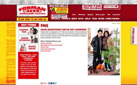 Screenshot of FAQ Page formanmills.com - FAQ - captured Sept. 30, 2014
