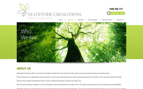Screenshot of About Page statewidecremations.com.au - State wide Cremations - About Us - captured Oct. 7, 2014