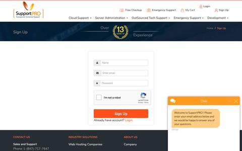 Screenshot of Signup Page supportpro.com - George says... - captured Dec. 11, 2018