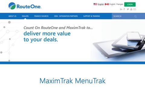 Screenshot of Menu Page routeone.com - MaximTrak MenuTrak   RouteOne - captured Jan. 22, 2018