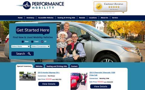 Screenshot of Home Page Menu Page performancemobility.com - Wheelchair Van Conversions | Handicap Lifts | Driving Aids | Arizona | Colorado | Oregon | Utah - captured Sept. 29, 2014