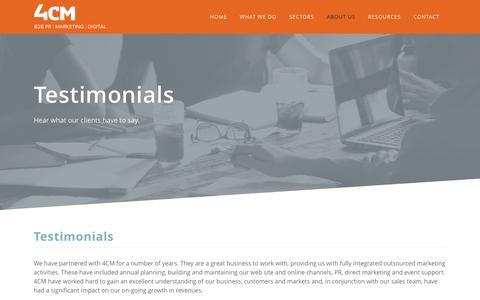 Screenshot of Testimonials Page 4cm.co.uk - 4CM | Testimonials - captured June 11, 2017